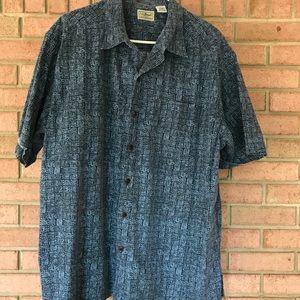 L.L Bean Blue Tiki Hawaiian Short-Sleeve Shirt